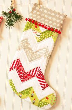 Chevron pattern stocking - cute!