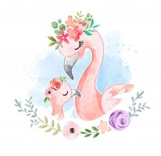 animados Cute Flamingo Family In Floral Crown Illustration Flamingo Illustration, Cute Animal Illustration, Watercolor Illustration, Watercolor Animals, Abstract Watercolor, Watercolor Flowers, Watercolor Paintings, Simple Watercolor, Tattoo Watercolor