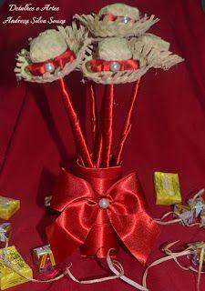 b96b64db14566 Buquê Junino para jogar  Chapéus de palha Noiva Festa