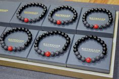 """BOYBEADS """"SOMEBODY LOVES YOU BABY"""" LIMITED EDITION VALENTINE'S DAY BLACK ONYX, LAVA, RED CORAL BEAD BRACELET FOR MEN"""