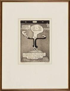"""""""Et kranium er ikke i stand til å utrykke mimikk..."""" Radering, 20x14 cm Fredrik Stabel"""