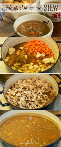Hearty Steakhouse Stew (Beef Stew) made with leftover steak and rotisserie chick. Hearty Steakhouse Stew (Beef Stew) made with leftover steak and rotisserie chicken. Great meal to m Crockpot Recipes, Soup Recipes, Cooking Recipes, Healthy Recipes, Healthy Food, Steaks, Leftover Steak, Chili Soup, Kitchens