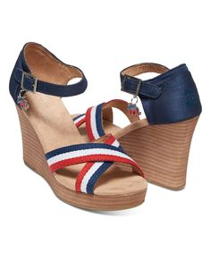 Take a look at this TOMS Navy Election Charms Strappy Wedge today!
