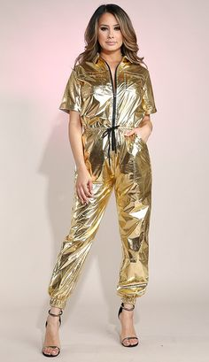 Short Sleeve Metallic Utility Jumpsuit - Gold   Soho Girl Gold Jumpsuit, Soho, Plus Size, Clothes For Women, Metallic, Shopping, Beautiful, Sleeve, Dresses