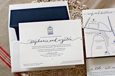 Navy on white wedding invitations   Letterpress   Bespoke Press
