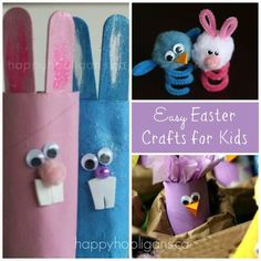 Easy Easter Crafts for Kids - Happy Hooligans Toilet Chicks, Peeps and Bunnies Tissue Paper Easter Wreath Easter Finger Puppets (pipe cleaners and pom poms) Stained Glass Easter Eggs Foil and Tissue Eggs Napkin Rings Spring Toddler Crafts, Easter Crafts For Toddlers, Holiday Crafts For Kids, Easter Art, Easter Projects, Crafts For Kids To Make, Easter Crafts For Kids, Preschool Crafts, Easy Crafts
