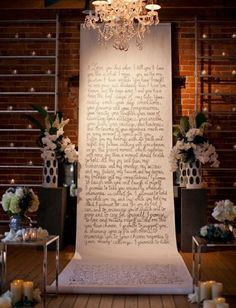 Use something like this for rehearsal dinner...maybe tips for a happy marriage???30 Fun And Creative Wedding Reception Backdrops You'll Love