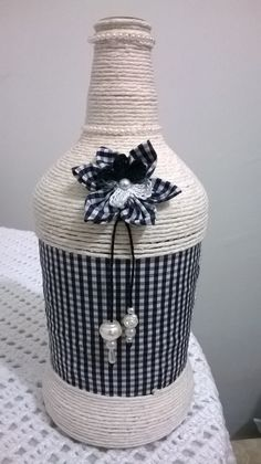 Fabric & twins decorated bottle