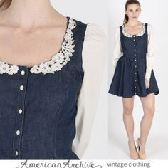 Vtg 70s Gunne Sax Denim Prairie Mini Hippie Floral Crochet Lace Boho Party Dress | eBay