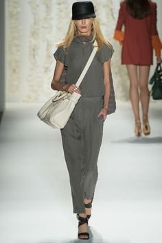 Rachael Zoe Spring 2013 Look 29 loving the chalk purse with grey outfit