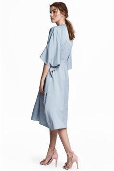 Robe caftan en satin - Bleu clair - FEMME   H&M FR