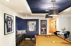 man cave or man room paint colour using blue and white