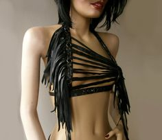 Dream Warriors black leather halter top /harness /breastplate. Studs & fringe. Post apocalyptic rock heavy metal barbarian larp cosplay