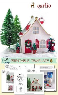 FREE Christmas Village Putz-like printable PDF template by Jeannine Anderson