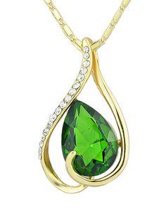 Hot Sale Elegant Gold Plated Green Rhinestone Pendant Stone Necklace 5.43