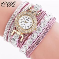 CCQ Fashion Luxury Rhinestone Bracelet Watch