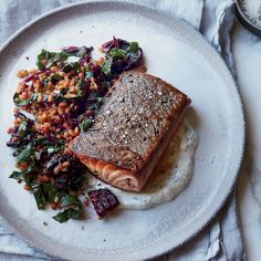 Caraway Salmon with Rye Berry-and-Beet Salad | Food & Wine - So simple -So wonderful.  Never had rye berries before. Awesome and so cheep.