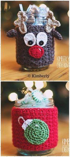 Crochet Reindeer Mason Jar Christmas Cozies Paid Pattern - Crochet Christmas Mason Jar Cozy Patterns #CrochetChristmas