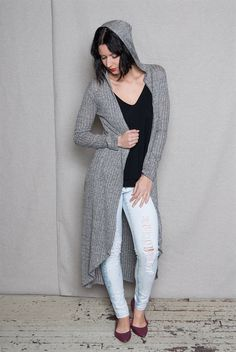 Look elegant while staying warm with this gray rib knit duster cardigan Hood open front slender long sleeves and rounded high-low maxi-length hem make a slim drapey look you will want to cuddle up in