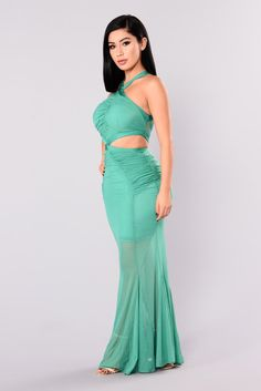 Cassia Mesh Dress - Sea Green