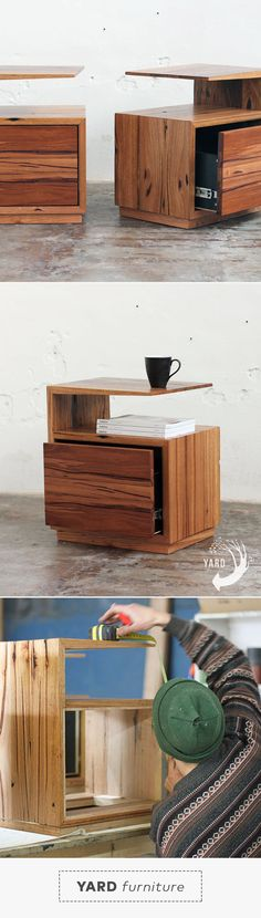 De Vine is a functional side table with an edge. Storage for your coffee, books and morning paper with a drawer to hide the little bits and bobs. Made from entirely recycled timber.
