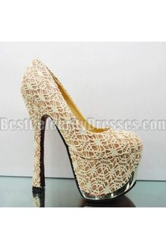 Discount Gold Sky High Heels Over 6 Inches Women's Shoes Lace Platform Heels for Party & Dresses BCDSPG10638442