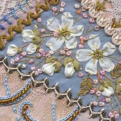 I ❤ crazy quilting & ribbon embroidery . . .   Silk Ribbon Flowers By Sharon B. Pintangle