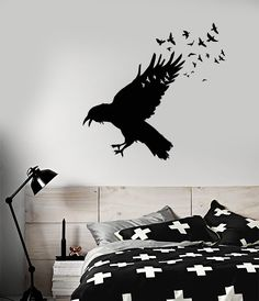 Vinyl Wall Decal Black Raven Flock Of Birds Gothic Style Stickers (1741ig) & Raven Decal Full Moon Vinyl Wall Decal Edgar Allen Poe Nevermore ...