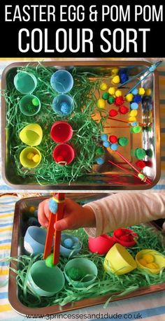 Activity Time. Easter Egg Pom Pom Colour Sort