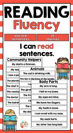This resource includes 15 thematic categories that will allow your students to practice reading fluency and build vocabulary. varied sentences in total) Perfect for the classroom! Reading Fluency Activities, Vocabulary Building, Community Helpers, Task Cards, Classroom Management, Teaching Resources, Sentences, Students, Frases