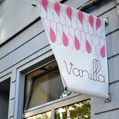 Banner sign for Vanilla coffee shop/bakery in Berlin