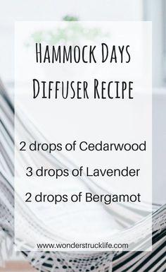 Hammock Days Essential Oil Summer Diffuser Blend 2 drops of Cedarwood / 3 drops of Lavender / 2 drops of Bergamot - see 10 more summer diffuser recipes here.