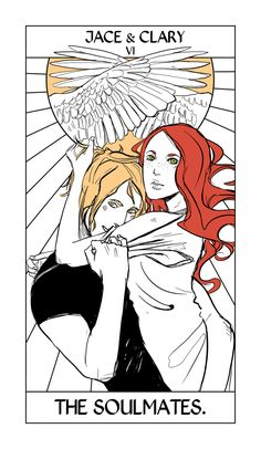 (first version)The Lovers card! Its meaning is pretty self-explanatory. I thought I'd attach the first version we did, which was just Jace and Clary. For whatever reason it wasn't working for us. Maybe because Jace looks slightly evil? :) Also I felt like there are so many characters whose relationships could represent unity and love. So we decided to make it a flippable card, which worked either way up, and have Magnus and Alec represent love as well.