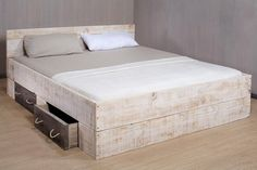Bett Lunas Bettkasten groß White Wash & EtsyYou spend a third of your life in your Bed, shouldn& you. Box Bed Frame, Cool Bed Frames, King Bed Frame, Wooden Bed Frames, White Bedroom Furniture, Bedroom Bed, Wooden Bedroom, Timber Beds, Cal