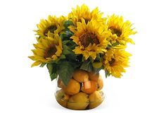 "14"" Sunflowers & Lemons in Vase, Yellow Bursting with sunny, fresh color, this arrangement features lifelike sunflowers set in acrylic water with faux lemons visible through the clear glass vase."