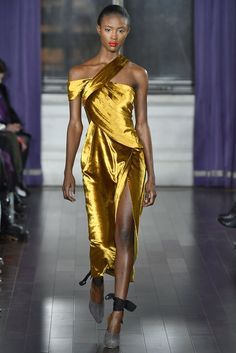 Try not to get hypnotized by this silky slinky golden dress from the Jason Wu Fall 2017 runway.