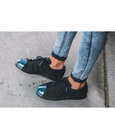 adidas superstar black - deals adidas superstar rose gold, glitter, holographic, black trainers for mens & womens, cheapest price with top quality assurance. Superstars Shoes, Toe Shoes, Adidas Superstar, Cheap Fashion, Black Adidas, Shoe Sale, Black Metal, Trainers, Cow