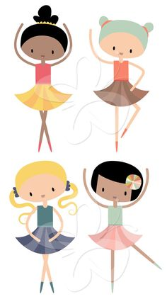 Cute Little Ballerina's Clip Art Clipart Set - Commercial and Personal use