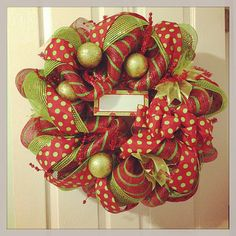 Whimsical Deco Mesh Christmas Wreath by LandrieLaneDesigns on Etsy, $67.00