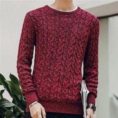 WSLCN Mens Chic Warm Coton Sweater Gradient Color Pullover Thick Knitting Jumper