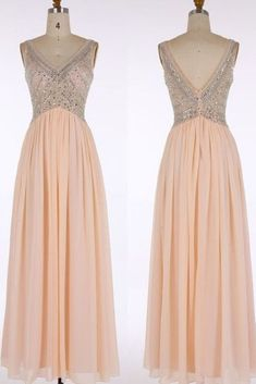 Elegant chiffon V neck sequins long prom dress,evening dress with straps