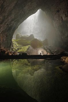 This recently discovered cave in Vietnam is massive beyond description. An entire forest is growing inside! There are no words to describe the enormity, and beauty of this natural wonder. -- The Empire State Building will fit inside-- ~ Photo credit: Carston Peter, Son Doong cave, Vietnam