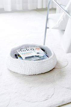 shallow basket, crochet instructions, from old sheets, 9mm crochet hook, stitches needed - chain, slip stitch, and single crochet