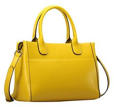Generic Women's Crossbody Strap Yellow Leather Handbag Small ** You can find more details by visiting the image link.