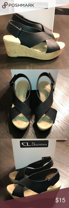 """CL Chinese Laundry black wedges sz 6.5 Euro 37 CL Chinese Laundry black wedges sz 6.5 Euro 37 3"""" wedge heels light wear light scuffs Chinese Laundry Shoes Sandals"""