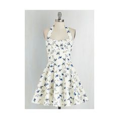 Pinup Short Length Halter Fit & Flare Traveling Cupcake Truck Dress ($60) ❤ liked on Polyvore
