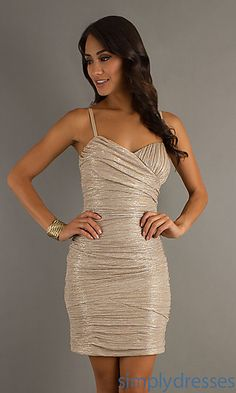 Short Spaghetti Strap Ruched Shimmer Dress at SimplyDresses.com