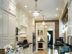 White High Gloss Galley Style Kitchen : Fantastic Modern Galley ...