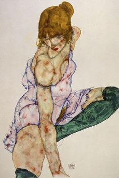 Egon Schiele - Fair-haired girl with green stockings