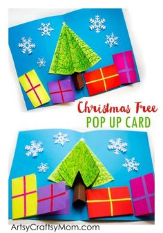 Make your own 3D Christmas Tree Pop Up Card for family members and friends. Miniature presents hold your season's greetings at the bottom.  via @artsycraftsymom